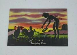 SCARCE Curt Teich Tempting Treat Silhouette Series C- 679 Linen Postcard 1946 - $20.00