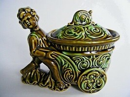 Green Covered Candy Nut Trinket Dish Boy Pushing Cart Made In Japan - $12.82