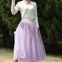 Sage Green Puffy Tulle Skirt Outfit High Waisted Midi Tulle Skirt Holiday Outfit image 9