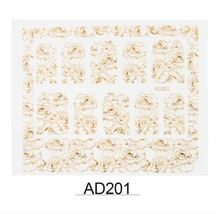 "HS Store - 1 pcs Gold Metal ""AD201"" 3D Dazzling Nail Art Sticker DIY  - $2.69"