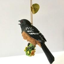 Danbury Mint Towhee Songbird Christmas Tree Ornament Bird Figurine Gold Tag - $14.84