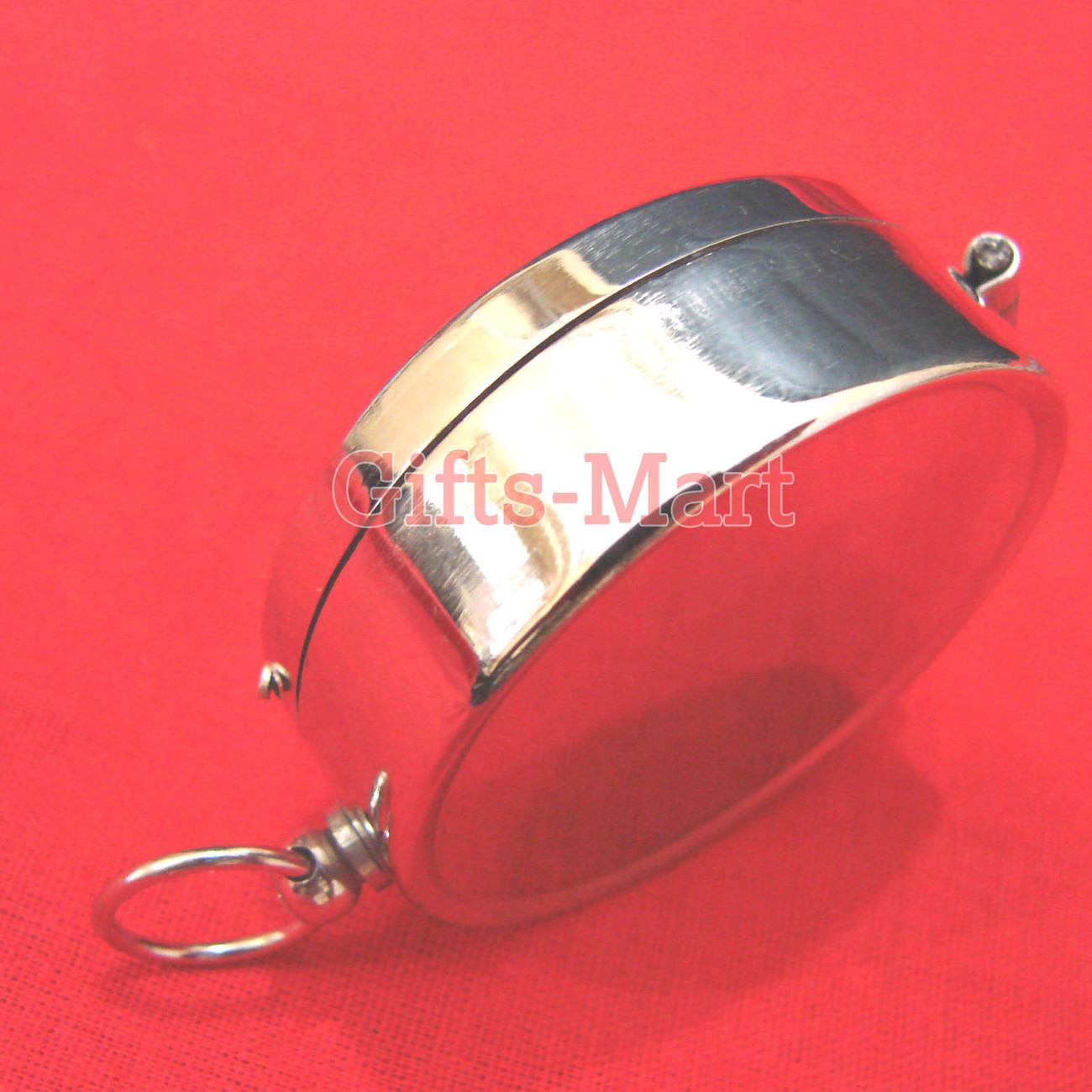 Brass Compass w/ Lid  Wholesale LOT 100 pcs Silver Compass, Keychain Compass
