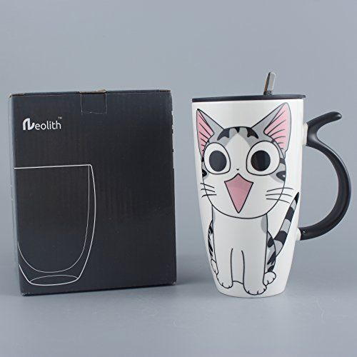Ceramic Mugs Coffee Lid Spoon Cat Style Cartoon Gift Large Home Kitchen White Hi