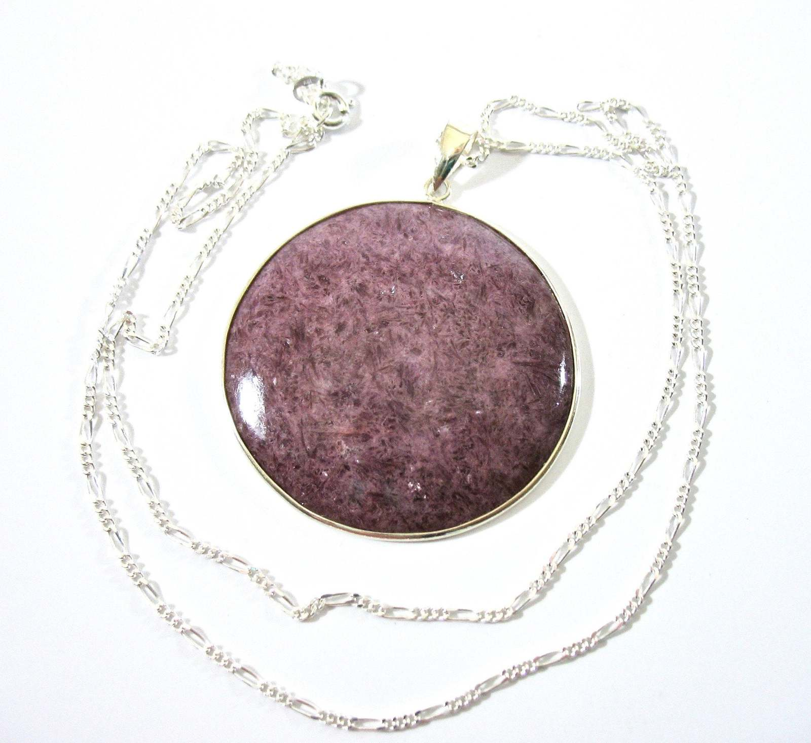 Rhodonite Necklace, Sterling, Pink Purple Stone, Oregon, Large Pendant, Round, L