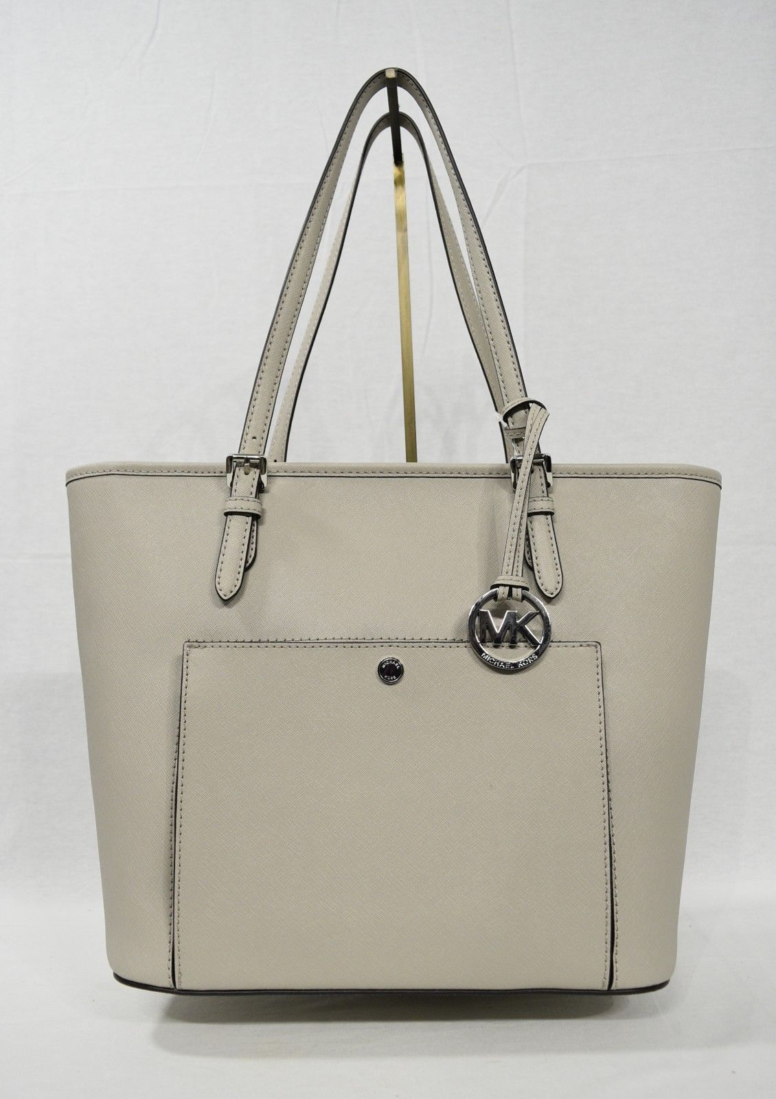 1f24fe689d15 NWT Michael Kors Jet Set Large Top Zip Snap Pocket Tote in Cement Grey
