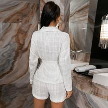 Glamaker Solid White 2 piece Blazer Short Suit with belt image 1