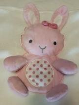 Little Me Large Blanket Polka Dot Pink Bunny Tummy Time Crinkle Squeak 30x40 - $28.69