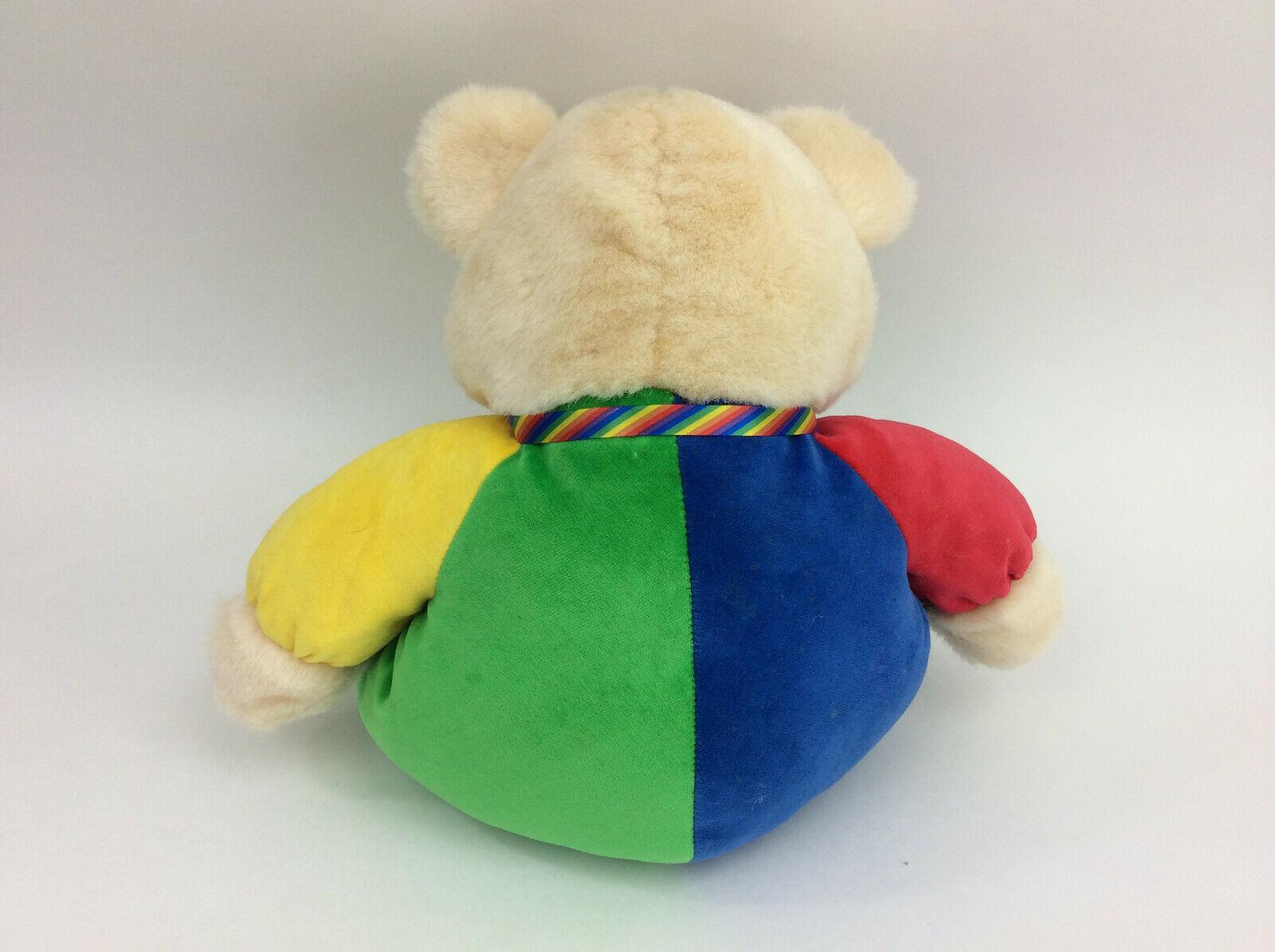 "Baby Ganz Teddy Bear Clown Primary Plush Red Green Yellow Rattle 14"" 1999"