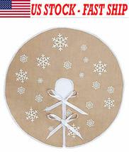 Round Snowflake Santa Claus Christmas Holiday Burlap Tree Skirt Mat Home... - $12.19
