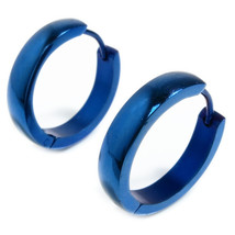 Stainless Steel Blue Round Face Hoop Earrings 20mm - $9.50