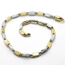 Armband Gelbgold Weiß 18K 750,Klein Röhren Geschirr Ovale Abwechselnde - $859.42