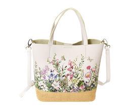 Women's Two Tone Wicker Floral Pattern Handbag Vegan Leather 2 in 1 Tote Purse image 4