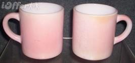 Hazel Atlas GLASS-- Platonite Ripple Pink Mugs - $9.95