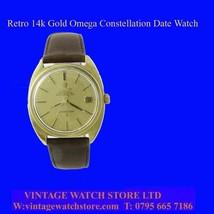 Mint 14k Gold Gents Retro & Vintage Omega Constellation Date Wrist Watch... - $1,401.35
