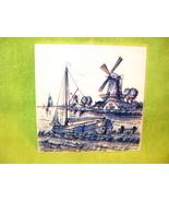 Delft Blauw Art Tile, Vintage - $14.60