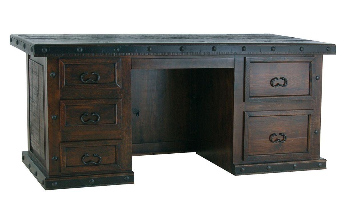 Rustic Americana Hardwood Executive Desk Home Office: Rustic Gran Hacienda File Desk Solid Wood Western Cabin