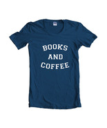 Books And Coffee Quote Women T-shirt Tee NAVY - $18.00