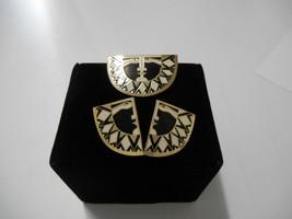 "Signed Laurel Burch Set~""Sunface""~Black/Cream/Gold Enamel~Clip On Earrings+Pin - $69.50"