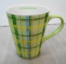 Starbucks Green & Yellow Plaid Coffee Tea Mug 12 oz 2006 - $27.93