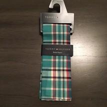 NWT $32.50 Tommy Hilfiger Donovan Blue Plaid 100% Cotton Pocket Square - $17.99