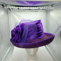 Purple Satin Straw Church Special Occasion Hat W/ Tulle Bow & Feathers - $59.39