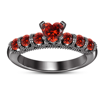 Heart Shape Red Garnet Engagement Ring 925 Sterling Silver 14k Black Gol... - $86.99