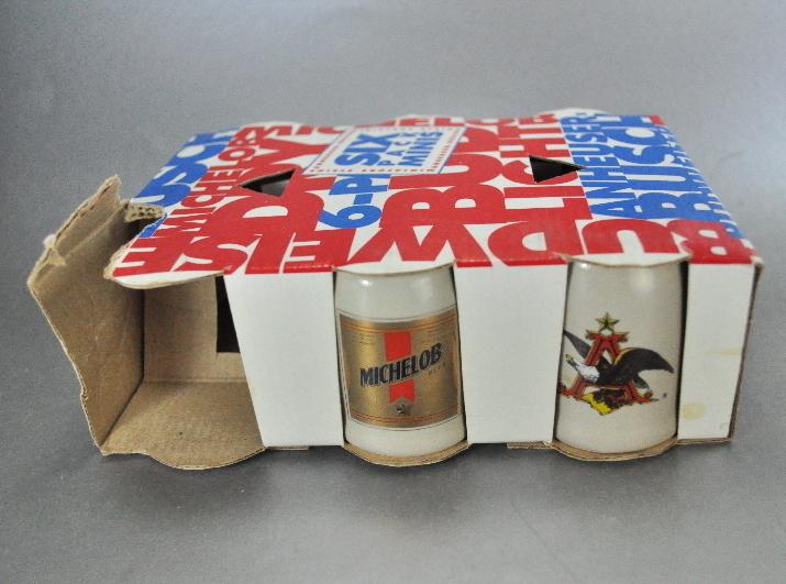 1991 Budweiser Six Pack Mini Shot Glass Beer Mug Steins