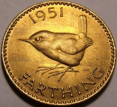 Rare Unc Great Britain 1951 Farthing~Wren~Fantastic~Free Shipping - $7.44