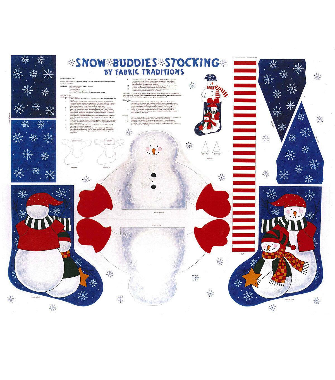 Neige Compagnon Jersey Panneau Fabric Traditions -snowmen - Noel - Rouge