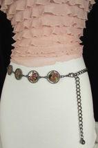 Damen Zinn Metall Bling Gürtel Gelb Rosa Blume Anhänger Hüfte Taille S M L image 5