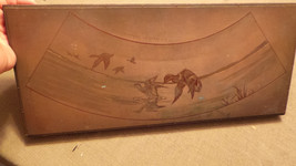 Antique Solid Copper Engraving Plate on Wood Block of Ducks Birds & Wate... - $14.99