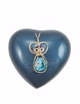 WIRE WRAP AQUA FUSED GLASS PENDANT  14 K GOLD FILL WIRE - $47.52