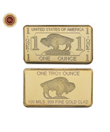 WR US Buffalo Bison 100 Mils .999 Fine Gold Clad Art Bar Best Friend Gif... - $4.88