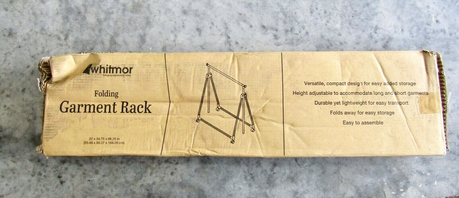 "Whitmor Folding Garment Rack Rolling, Adjustable Height 22""x34.5""x66.25"" - NIB - $24.70"