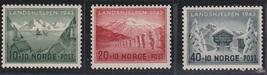 1943 Landscapes Set of 3 Norway Postage Stamps Catalog Number B32-34 MNH