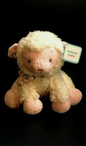 Arora Blessing Baby Lamb Pink White Plush With Floral Bow - $12.63