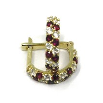 18K YELLOW GOLD MINI 10mm CIRCLE HOOPS EARRINGS, RED & WHITE CUBIC ZIRCONIA image 2