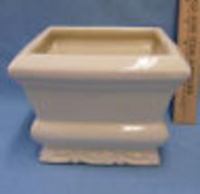 Vintage Gloss Ivory Ceramic Square Planter Holder - $13.16