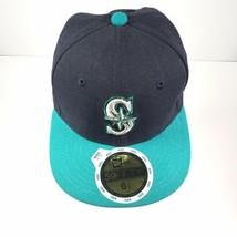 New Era Seattle Mariners Size 6.5 Kids 59Fifty Fitted Hat Dark Navy/Teal... - $21.49