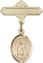14K Gold Baby Badge with St. Grace Charm and Polished Badge Pin 1 X 5/8 inch - $416.46
