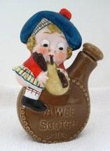"A Wee Scotch Bottle Flask Scottish Man 4 1/4 x 3 1 1/4"" In Great Shape  - $39.11"