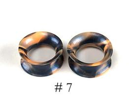 Pair of Pearlescent Swirl Silicone Tunnels Plugs (Orange-Black, 00g - 10mm) - $12.87