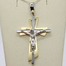 PENDANT DOUBLE CROSS YELLOW GOLD WHITE 750 18K, WITH CHRIST, GLOSSY SATIN image 4
