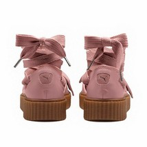 Puma Fenty Bow Creeper Sandal Womens 9 Ankle Laced Rihanna Gum Pink Leather - $49.95