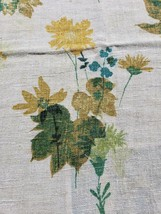 1930 Linen Tablecloth Yellow Floral Rustic 46 X 68 Spring Rectangle Scallop - $39.58