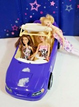 Barbie vintage mustang convertible car with 3 dolls disney mattel barbies + - $29.39
