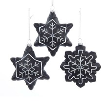 "Kurt Adler 4.5"" Chalkboard Paint Gem Snowflake Christmas Ornament - $9.64"