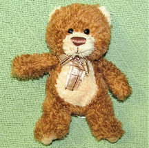 "AURORA WORLD 7"" TEDDY BEAR BEANBAG PLUSH STUFFED ANIMAL TAN BROWN PLAID ... - $9.50"