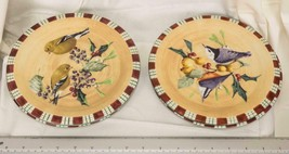 "Lot of 4 Lenox Greetings Everyday Goldfinch Nuthatch Salad Plate 7-1/2"" mjb - $24.74"