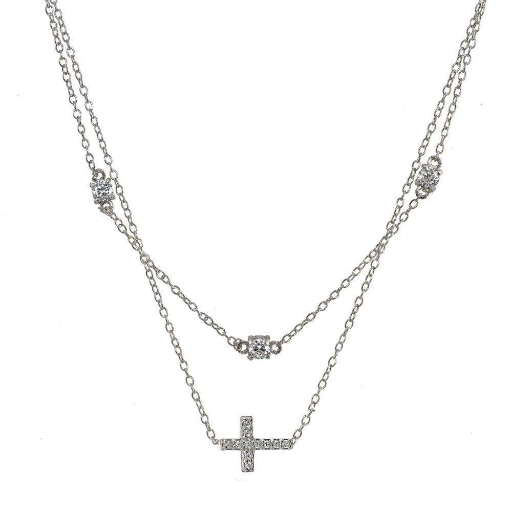 Sterling Silver Cubic Zirconia Sideways Cross Layered Choker Necklace
